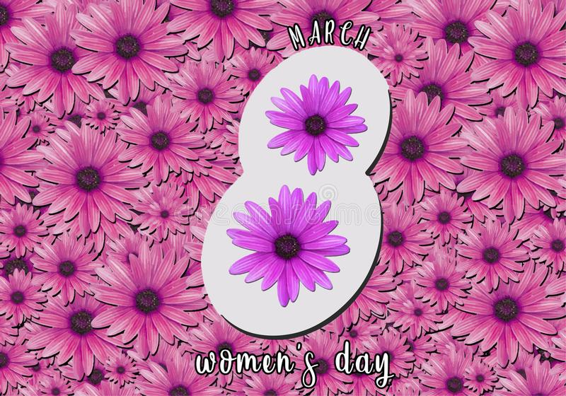 March 8th Flower Women`s Day Frame. For invitations and other things stock photography