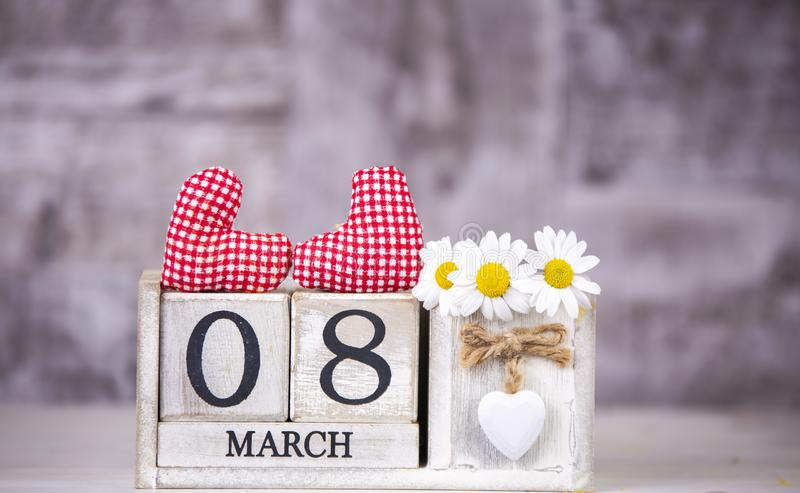 March 8th wooden calendar, World Woman`s Day.  royalty free stock photography