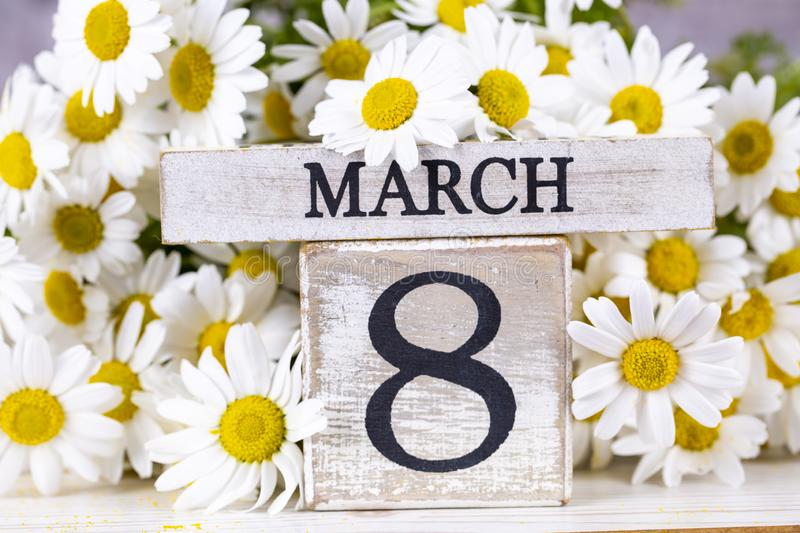 March 8th wooden calendar, World Woman`s Day.  stock photo