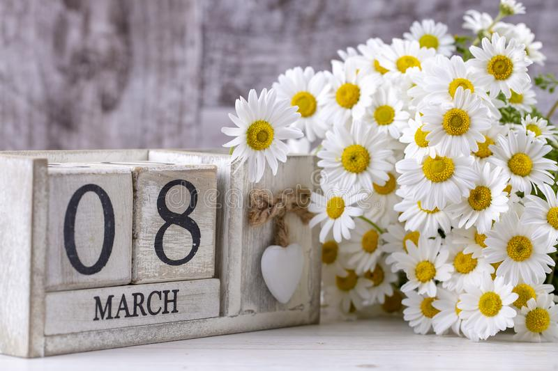 March 8th wooden calendar, World Woman`s Day.  stock images