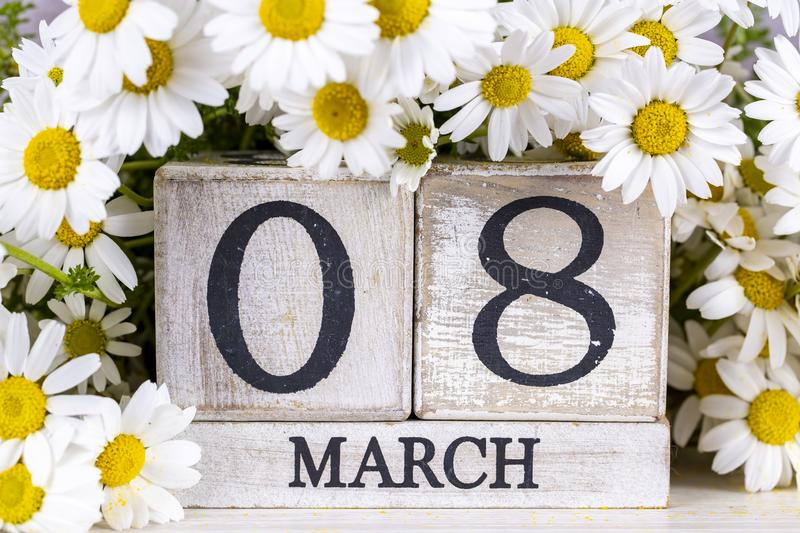 March 8th wooden calendar, World Woman`s Day.  stock image