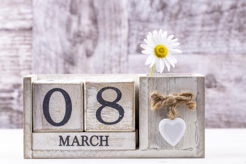 March 8th wooden calendar, World Woman`s Day.  royalty free stock image