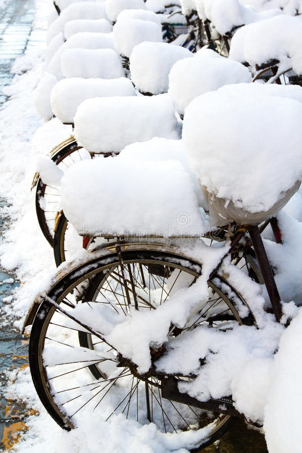 bikes in the snow royalty free stock images