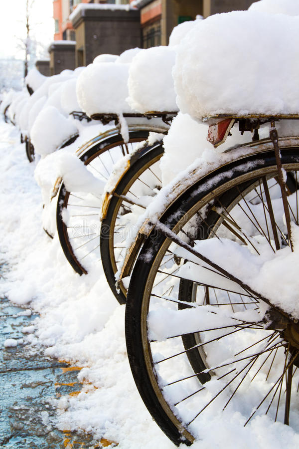 Download Bikes in the snow stock photo. Image of weather, bike - 30255890