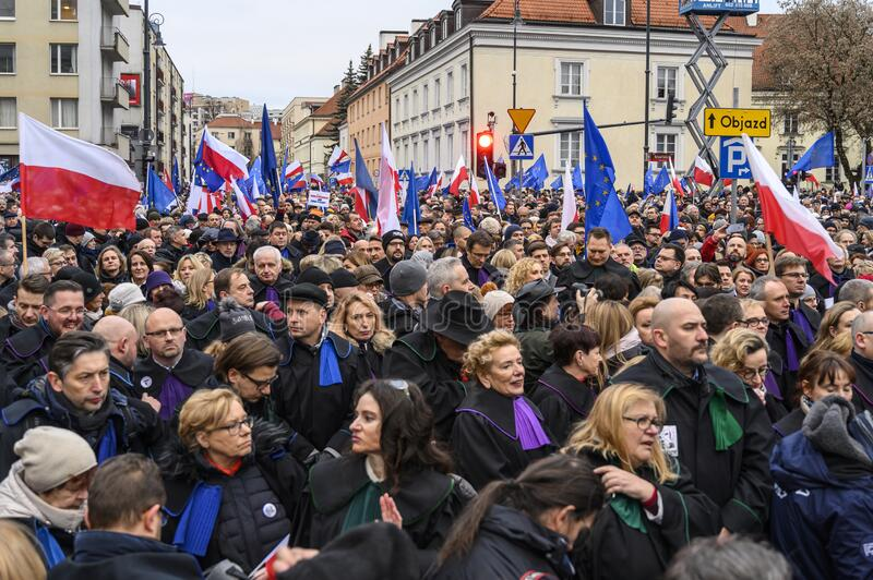 March of a Thousand Gown in Warsaw royalty free stock photo