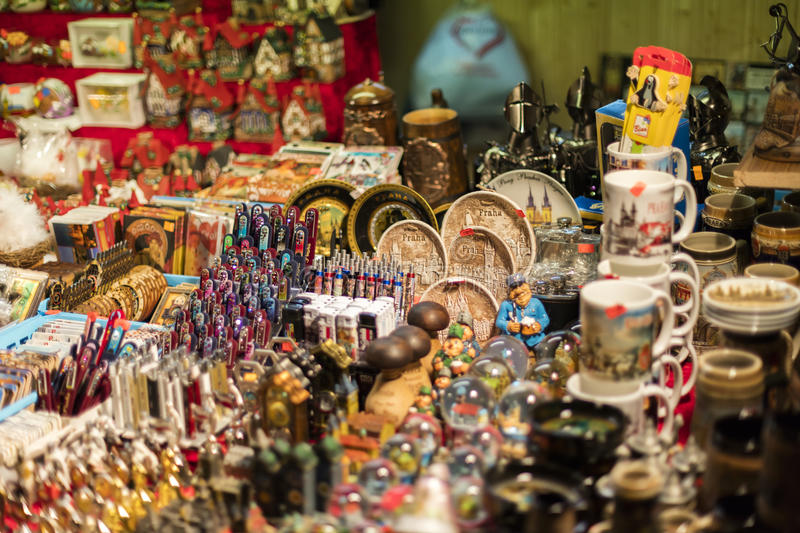MARCH 25, 2016: Typical goods and decors sold at traditional Easter markets on Old Towns Square in Prague, Czech republic stock image