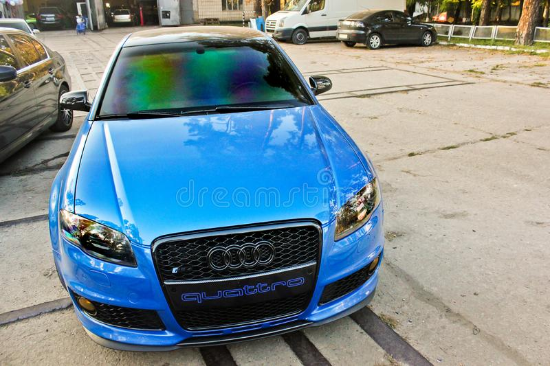 March 13, 2014, Ukraine, Kharkov; Audi RS4 with elements of carbon. Blue sports car royalty free stock images
