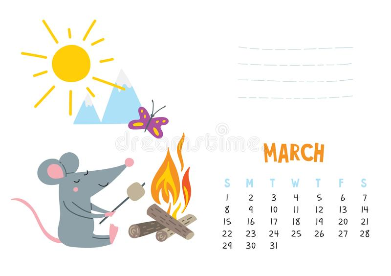 March. Vector calendar page with cute rat in travel - Chinese symbol of 2020 year stock illustration
