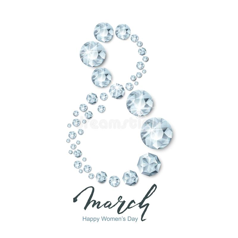 8 March vector greeting card, International Women`s Day. Number eight 3d silver diamonds, gems, jewels and lettering. 8 March vector greeting card royalty free illustration