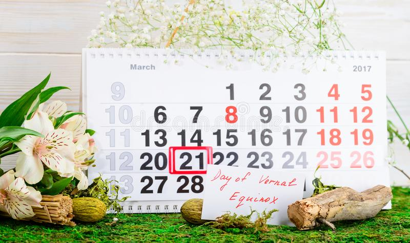 March 21 vernal equinox, spring calendar. March 21 vernal equinox, a spring calendar concept royalty free stock image