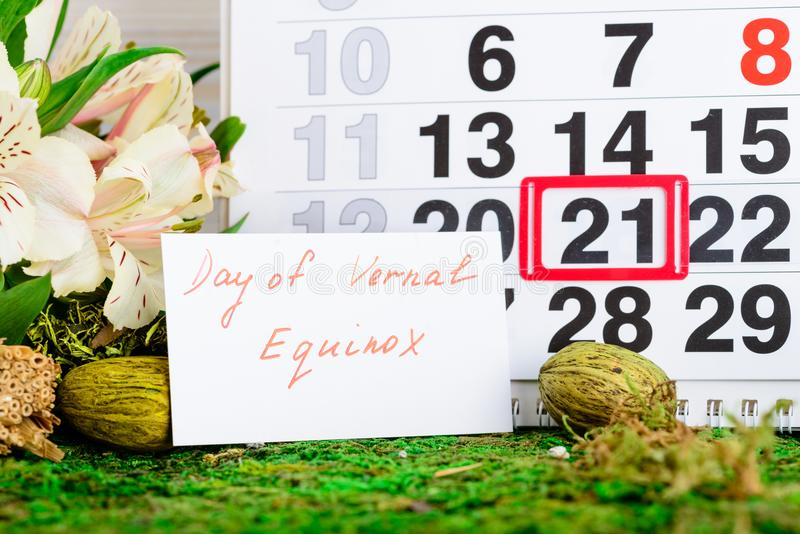 March 21 vernal equinox, spring calendar. March 21 vernal equinox, a spring calendar concept royalty free stock photo