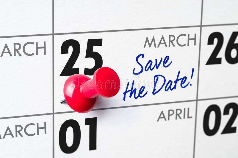 March 25. Wall calendar with a red pin - March 25 stock photos