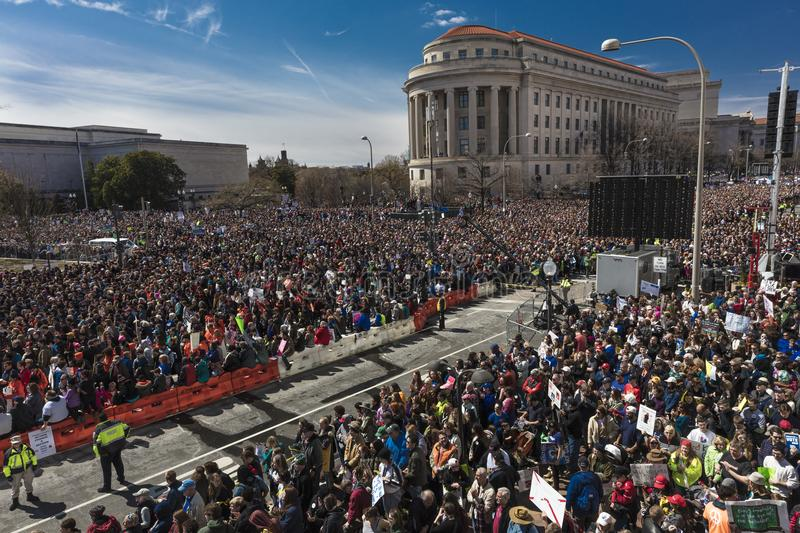 MARCH 24, 2018: Washington, D.C. Hundreds of thousands gather on Pennsylvania Avenue, NW in . March, dc. MARCH 24, 2018: Washington, D.C. Hundreds of thousands royalty free stock images