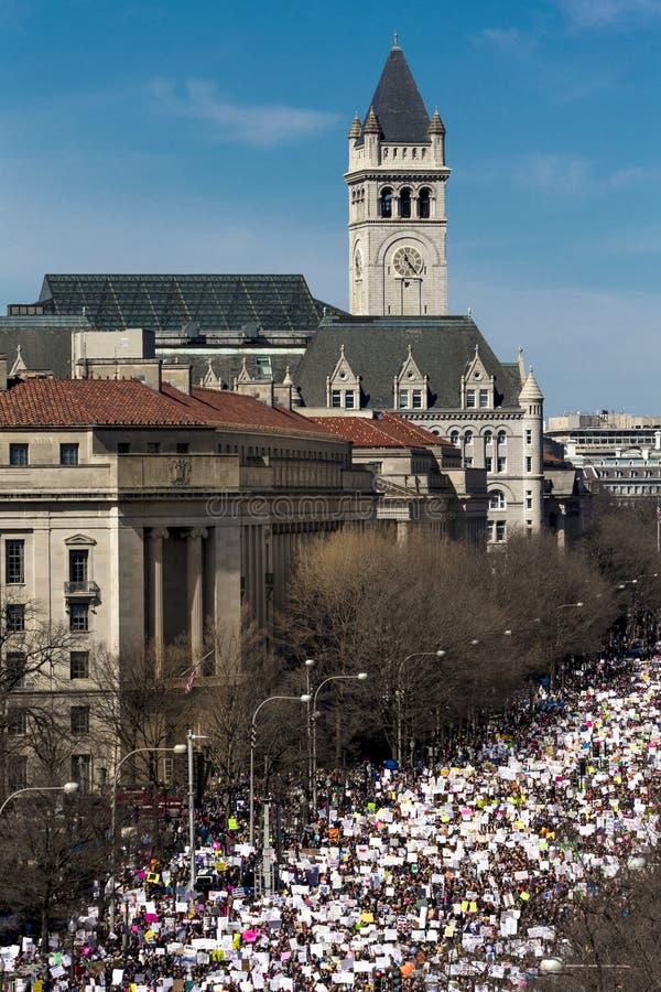 MARCH 24, 2018: Washington, D.C. Hundreds of thousands gather on Pennsylvania Avenue, NW in . Washington, Constitution. MARCH 24, 2018: Washington, D.C. Hundreds royalty free stock photos