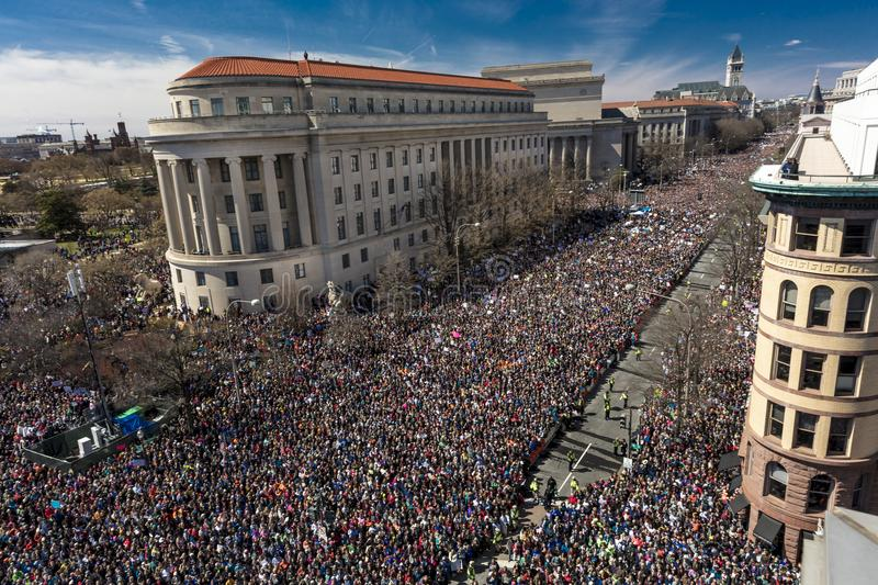 MARCH 24, 2018: Washington, D.C. Hundreds of thousands gather on Pennsylvania Avenue, NW in . Stoneman, Constitution. MARCH 24, 2018: Washington, D.C. Hundreds royalty free stock images