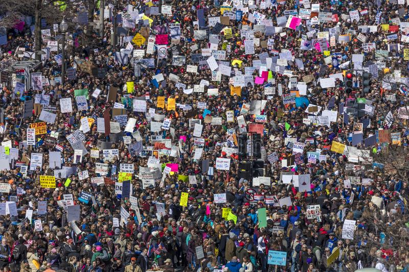MARCH 24, 2018: Washington, D.C. Hundreds of thousands gather on Pennsylvania Avenue, NW in . Dc, Constitution. MARCH 24, 2018: Washington, D.C. Hundreds of royalty free stock photos