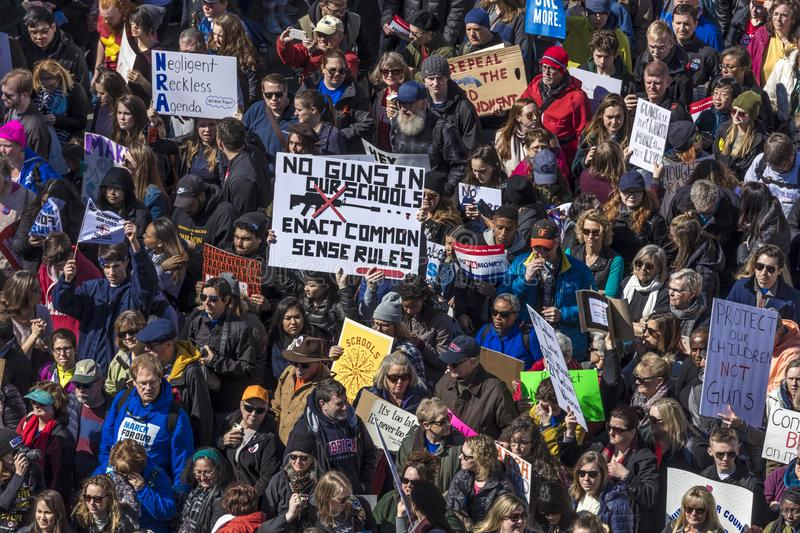 MARCH 24, 2018: Washington, D.C. Hundreds of thousands gather on Pennsylvania Avenue, NW in . We, march. MARCH 24, 2018: Washington, D.C. Hundreds of thousands royalty free stock image