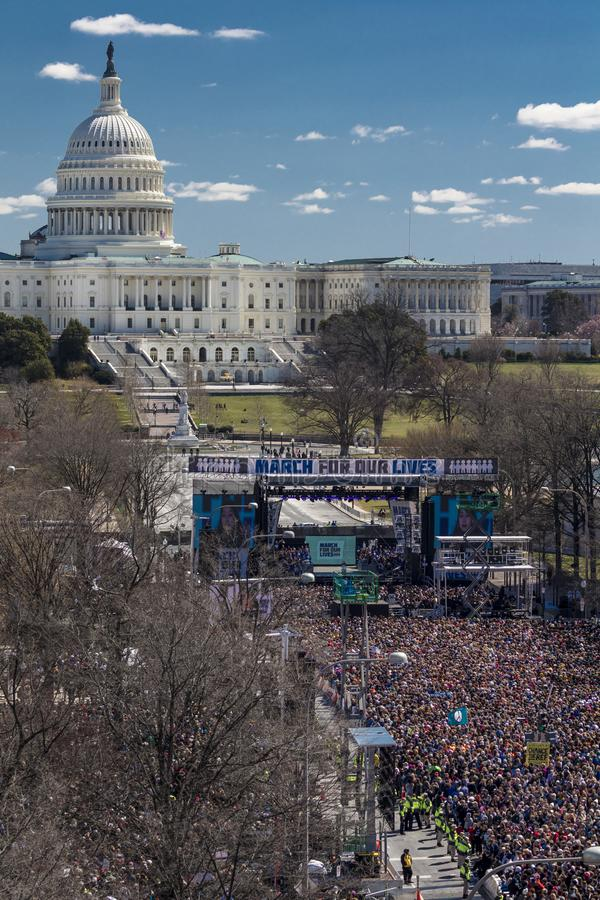 MARCH 24, 2018: Washington, D.C. Hundreds of thousands gather on Pennsylvania Avenue, NW in . Protesters, speakout. MARCH 24, 2018: Washington, D.C. Hundreds of royalty free stock images