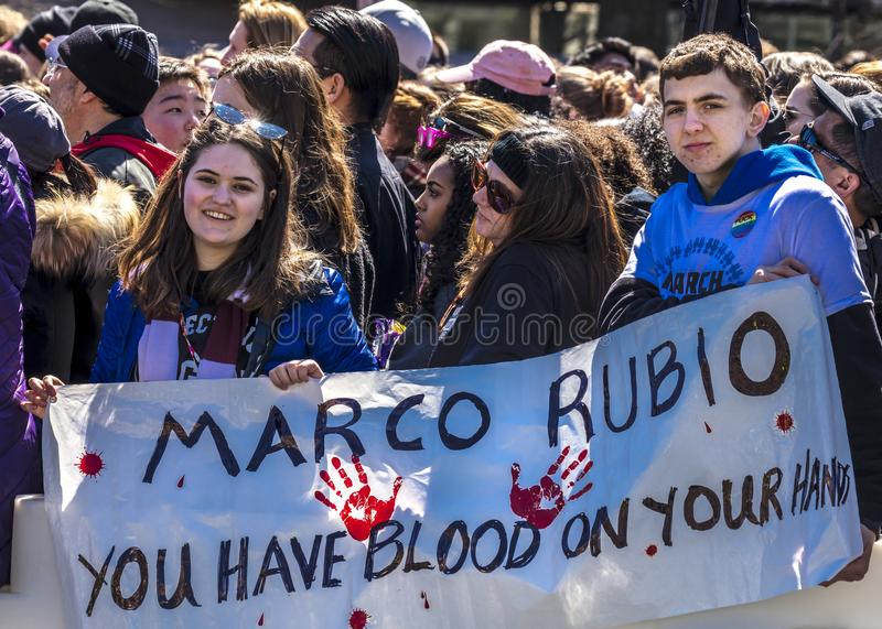 MARCH 24, 2018: Washington, D.C. hundreds of thousands protest against NRA and Marco Rubio on. Students, stoneman. MARCH 24, 2018: Washington, D.C. hundreds of royalty free stock images