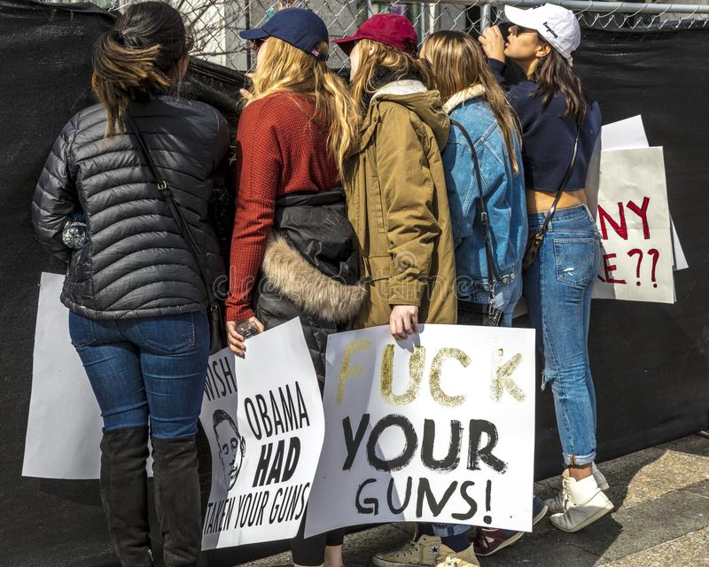 MARCH 24, 2018: Washington, D.C. hundreds of thousands protest against NRA on Pennsylvania Avenue. Against, the. MARCH 24, 2018: Washington, D.C. hundreds of royalty free stock photography