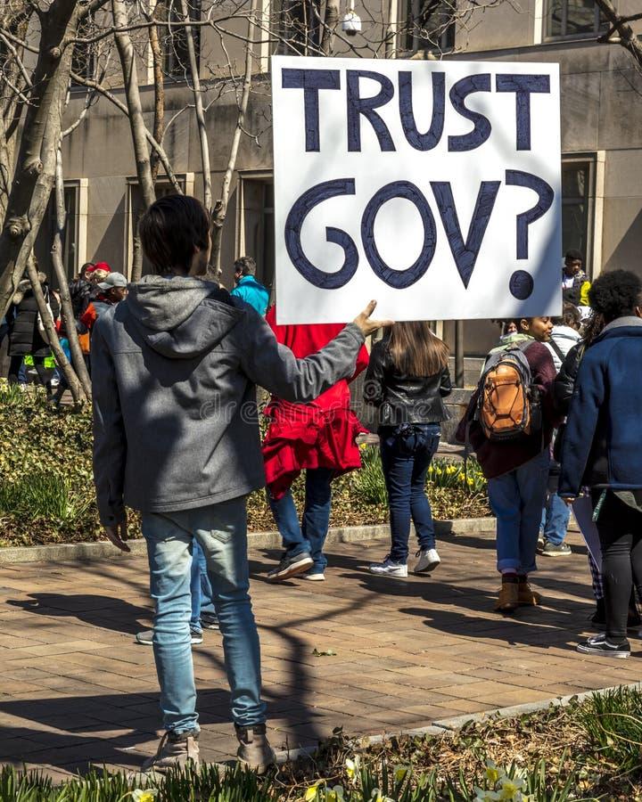 MARCH 24, 2018: Washington, D.C. hundreds of thousands protest against NRA on Pennsylvania Avenue. Douglas, parkland. MARCH 24, 2018: Washington, D.C. hundreds royalty free stock image