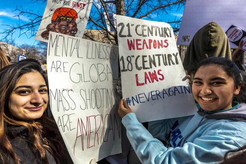 MARCH 24, 2018: Washington, D.C. hundreds of thousands protest against NRA on Pennsylvania Avenue. Florida, states. MARCH 24, 2018: Washington, D.C. hundreds of royalty free stock photos