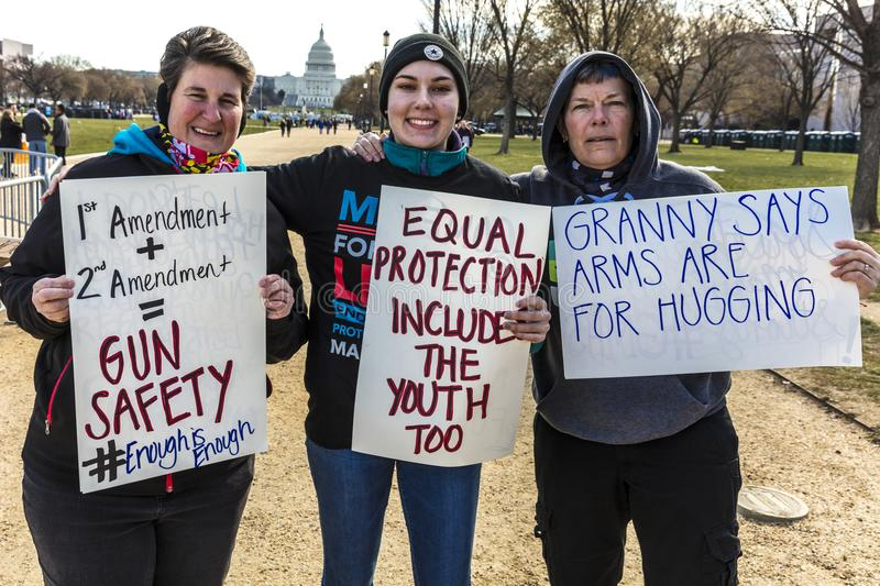MARCH 24, 2018: Washington, D.C. hundreds of thousands protest against NRA on Pennsylvania Avenue. High, our. MARCH 24, 2018: Washington, D.C. hundreds of royalty free stock images