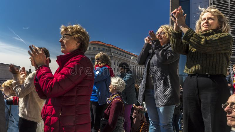 MARCH 24, 2018: Washington, D.C. hundreds of thousands protest against NRA on Pennsylvania Avenue. For, 24. MARCH 24, 2018: Washington, D.C. hundreds of royalty free stock images