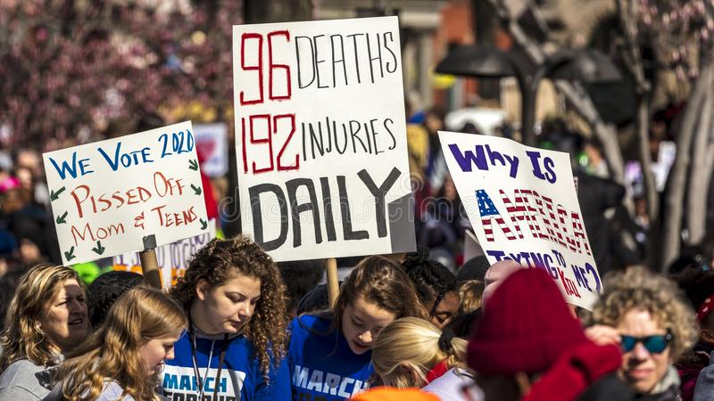 MARCH 24, 2018: Washington, D.C. hundreds of thousands protest against NRA on Pennsylvania Avenue. Education, washington. MARCH 24, 2018: Washington, D.C royalty free stock images