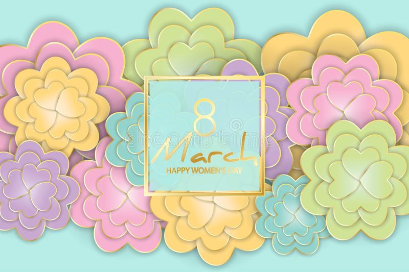 8 March, Women`s Day floral greeting card. 3d, origami, paper cu royalty free illustration