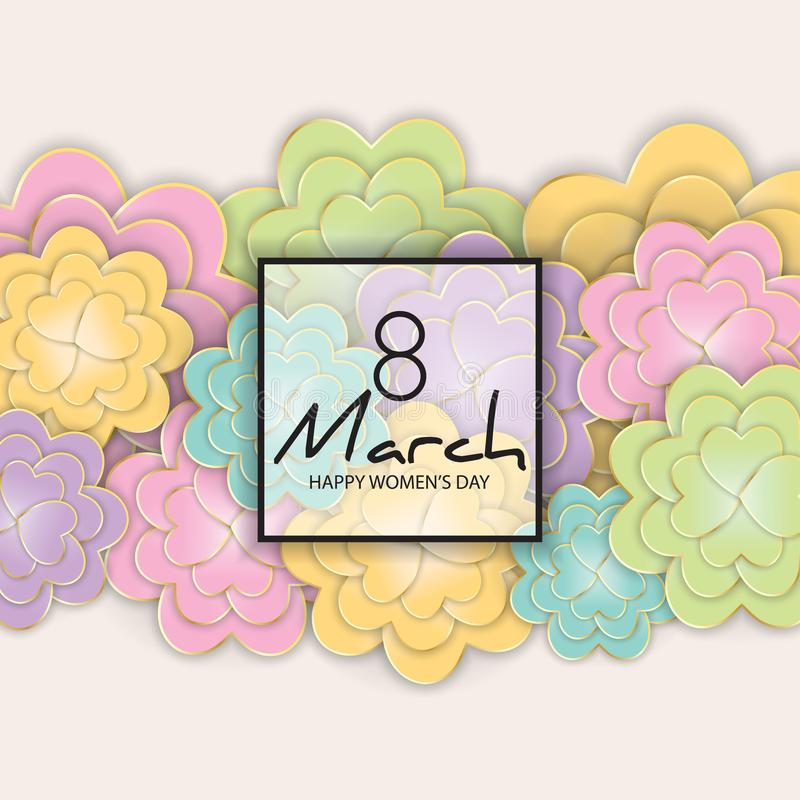 8 March, Women`s Day floral greeting card. stock illustration