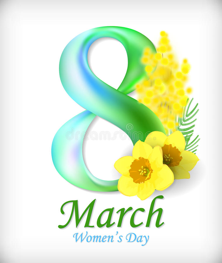 8 March Women`s Day greeting card template. Amazing figure eight. Vector royalty free illustration