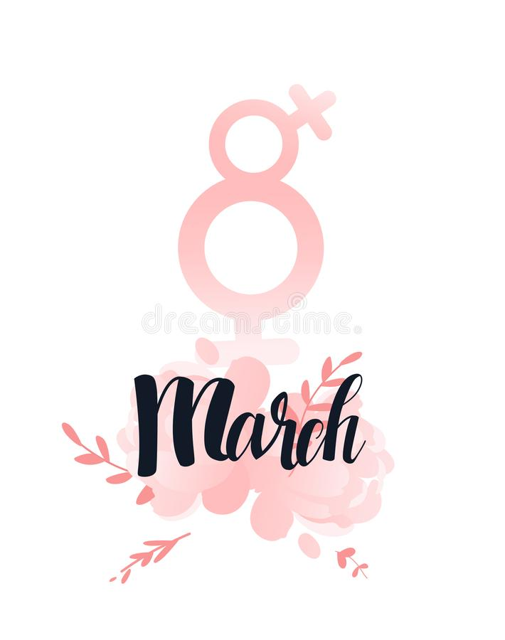 8 march women sign Hand lettering black ink. Flower peonies pink and leaf. International womens day, women royalty free illustration