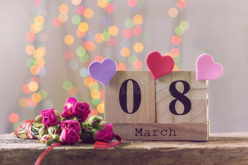 March 8, wooden calendar, happy women`s day royalty free stock photo
