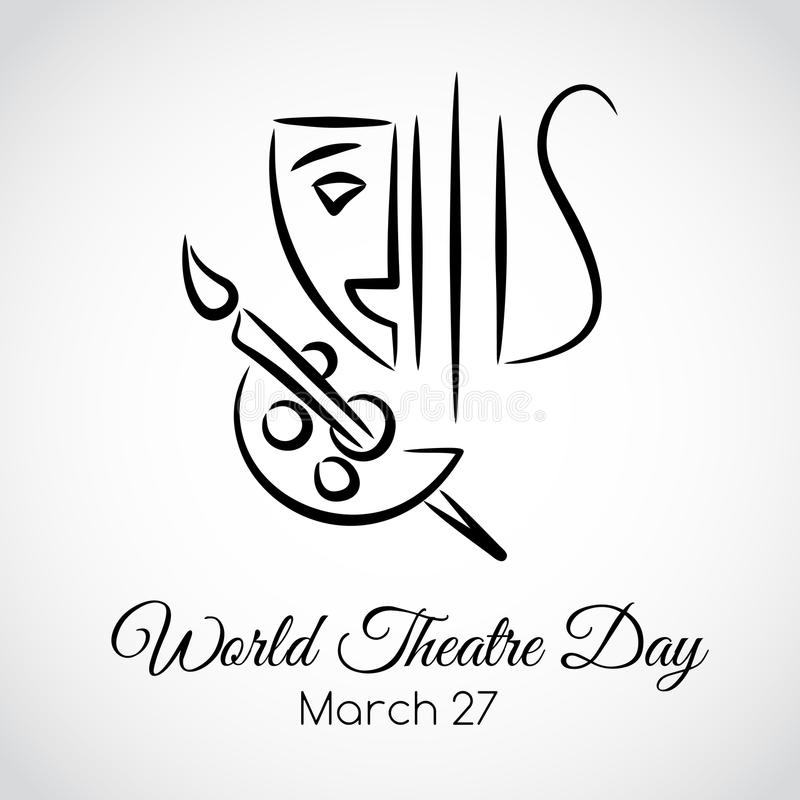 27 March. World theatre day greeting card vector illustration