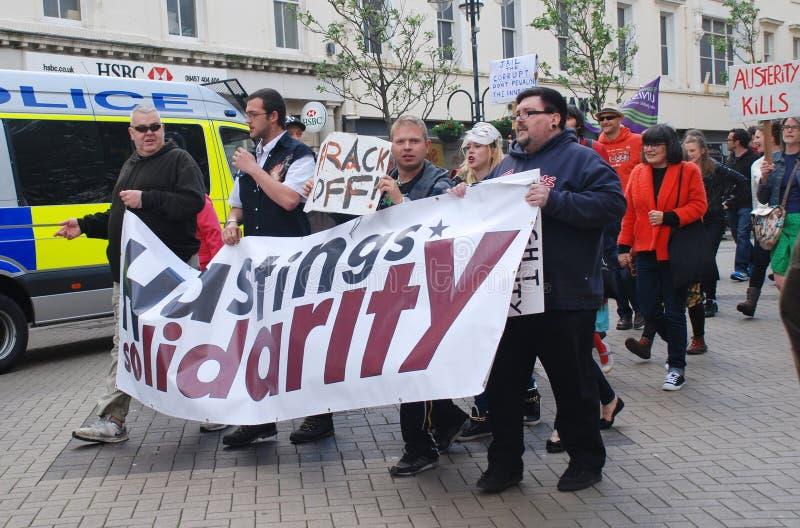Marcha de la solidaridad de Hastings, Inglaterra imagen de archivo libre de regalías
