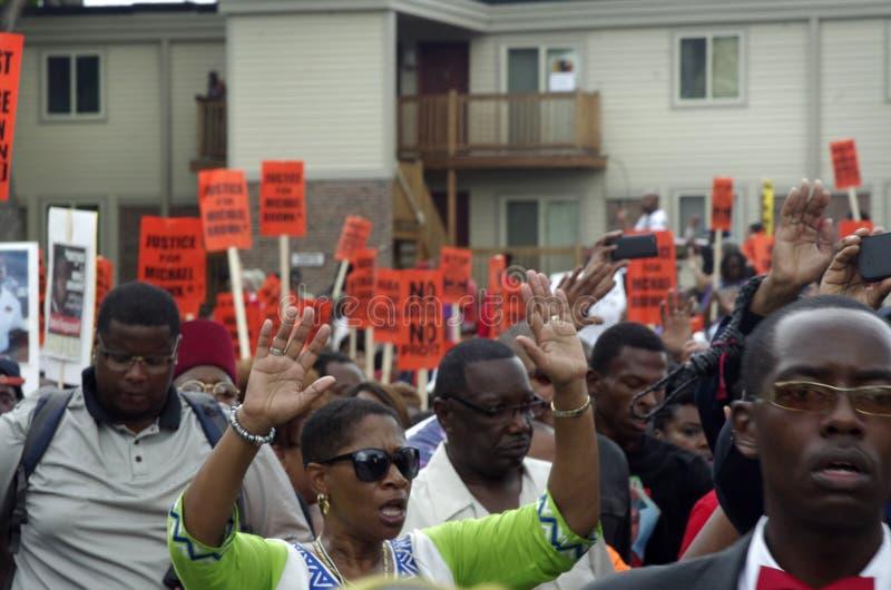 Marcha de paz para Michael Brown fotografía de archivo libre de regalías