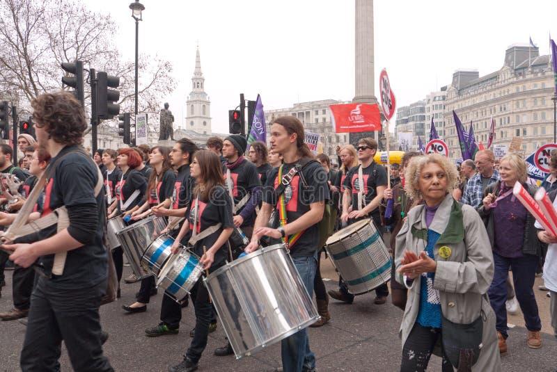 Marcha de protesto de TUC em Londres, Reino Unido fotografia de stock