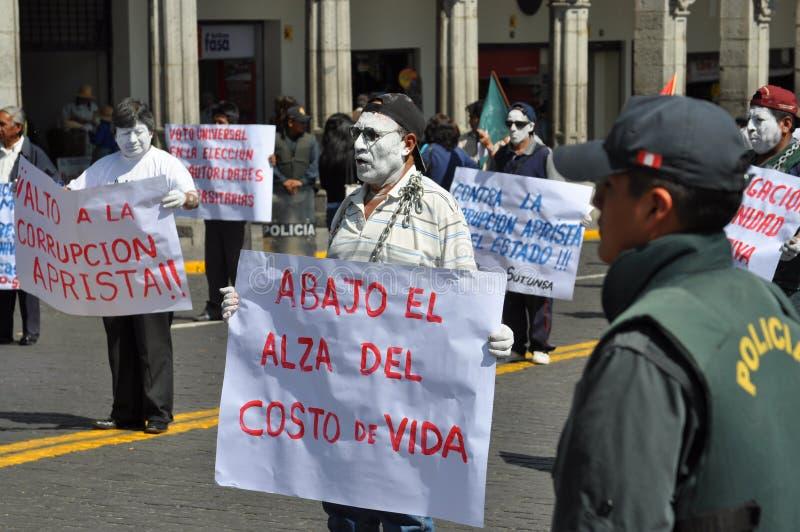 Marcha de protesto em Arequipa, Peru imagens de stock