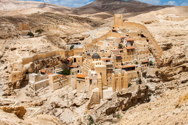 Marcha Saba, Lavra santo del santo Sabbas, monasterio cristiano ortodoxo del este Cisjordania, Palestina, Israel fotografía de archivo libre de regalías