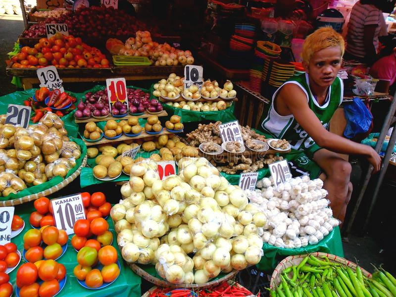 Marchand ambulant asiatique vendant des fruits et légumes dans le quiapo, Manille, Philippines en Asie image libre de droits
