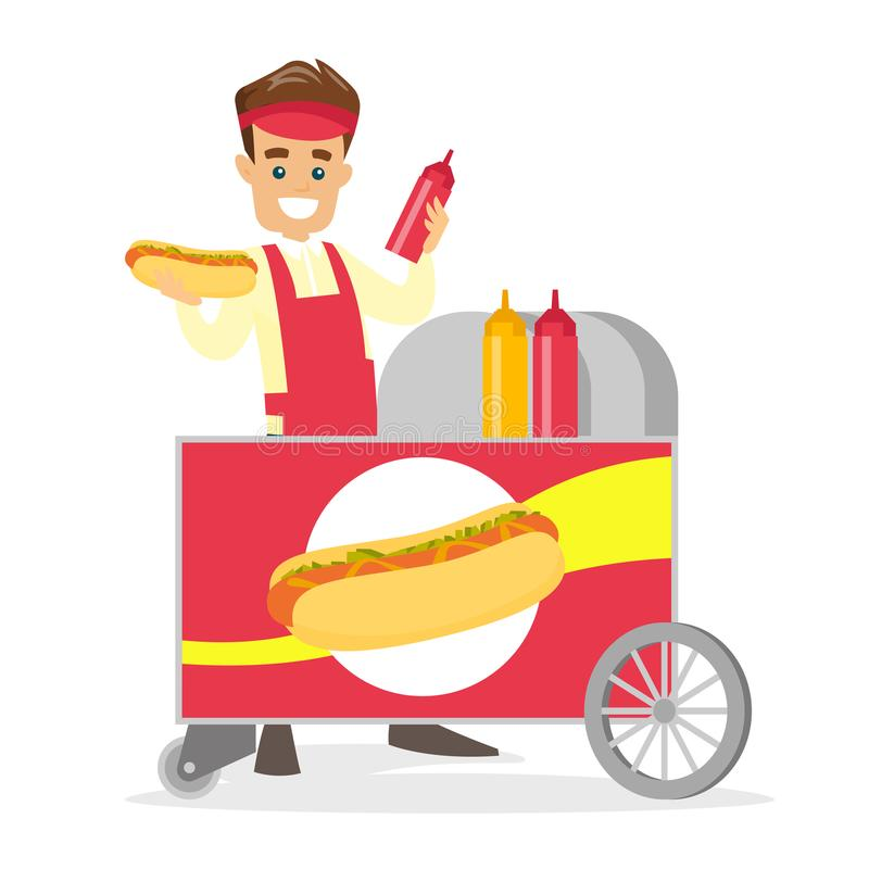 Marchand ambulant blanc caucasien faisant un hot-dog illustration libre de droits
