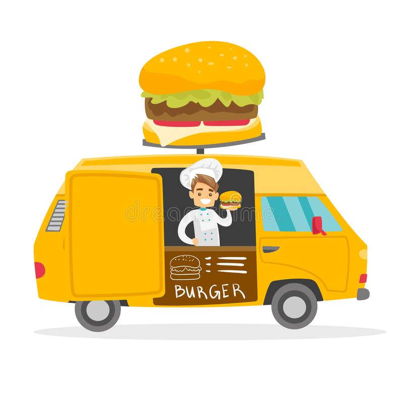 Marchand ambulant blanc caucasien vendant des hamburgers illustration stock