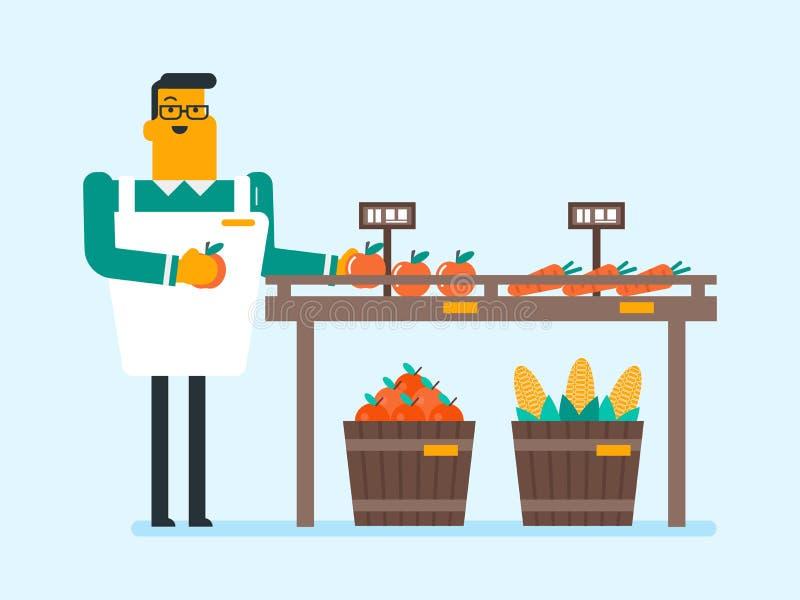 Marchand ambulant caucasien avec des fruits et légumes illustration de vecteur