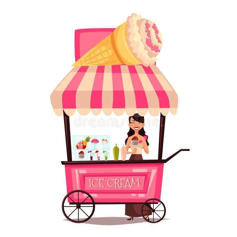 Marchand ambulant mobile avec la crème glacée  illustration stock