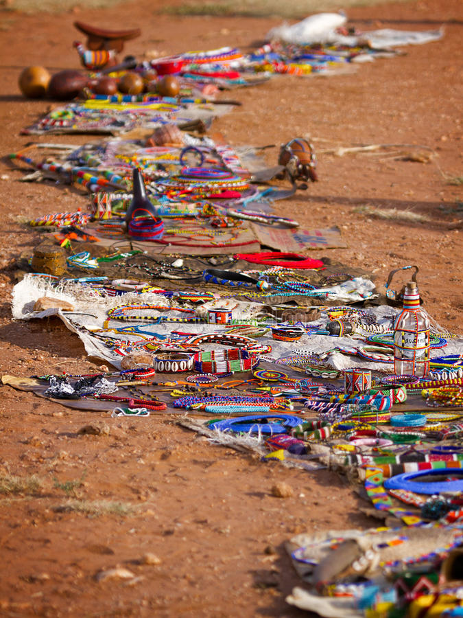 Marchandises à vendre, marché africain photographie stock libre de droits