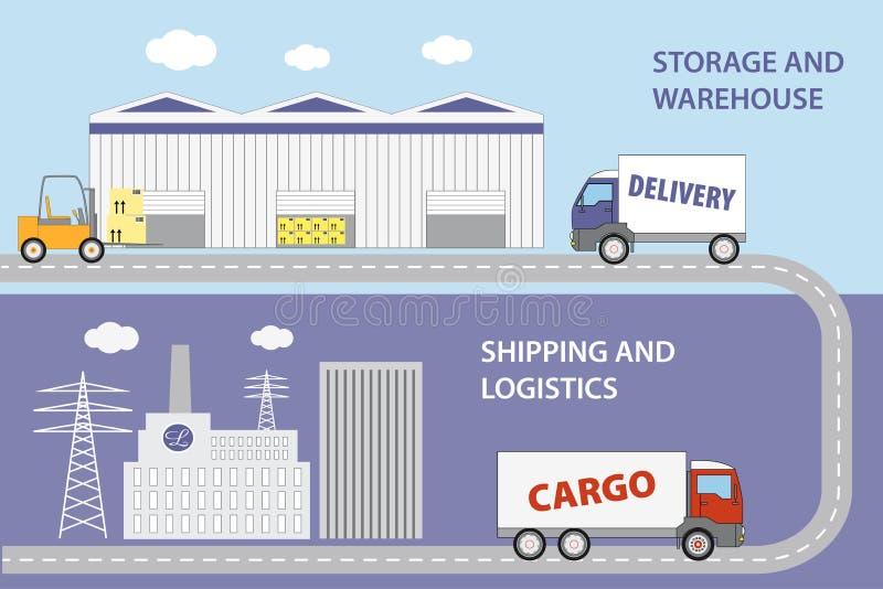 Marchandises de transports de société de logistique de production à l'entrepôt illustration libre de droits