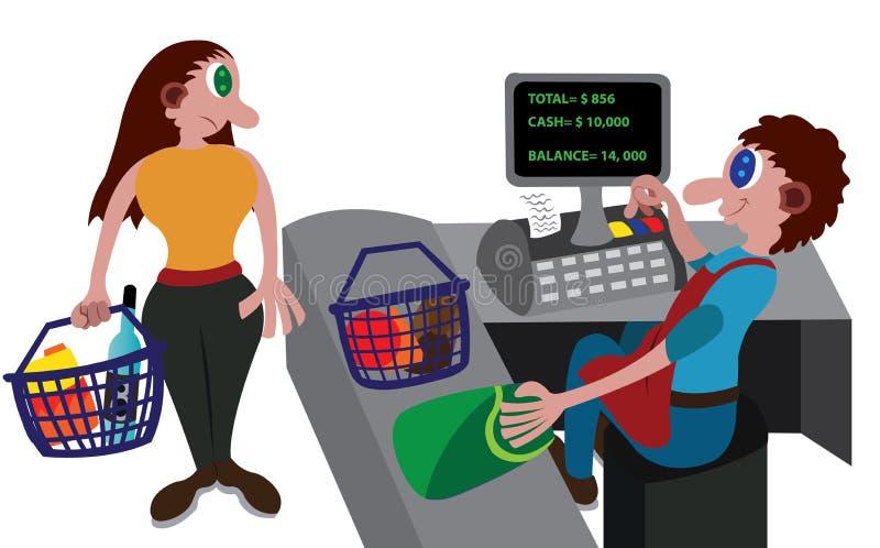 Marchandises de vente de caissier illustration libre de droits