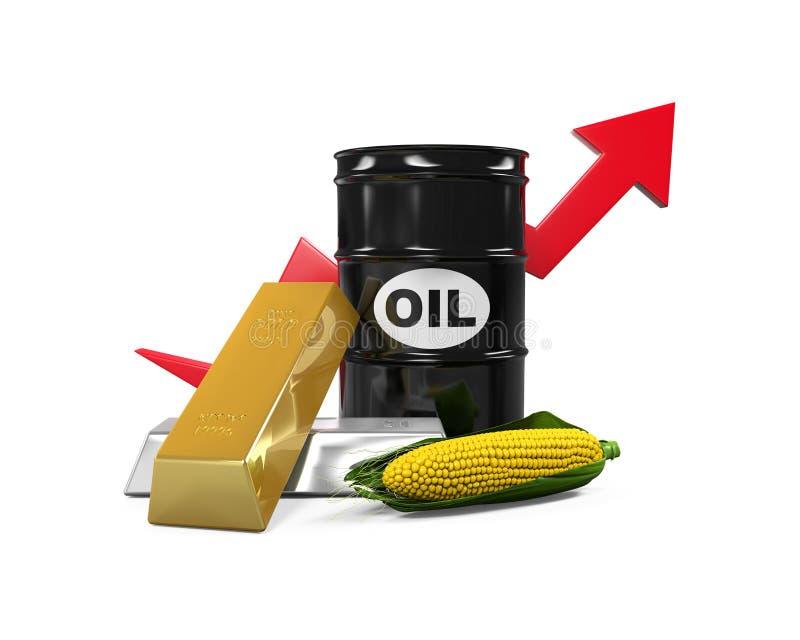Marchandises - huile, maïs, or et argent illustration de vecteur