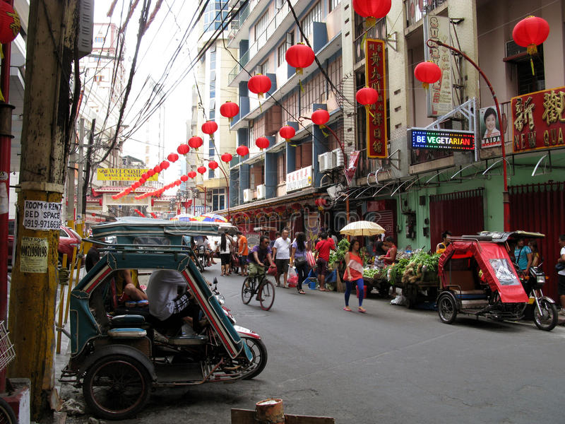 Marchands ambulants, Chinatown, Binondo, Manille photos stock